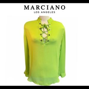 Marciano Lime Green Long Sleeve Blouse Size Large